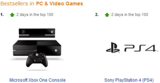 Xbox One ahead of PS4 in Amazon UK pre-order charts