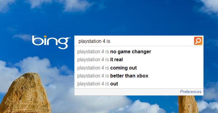playstation 4 bing