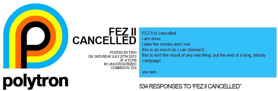 FEZ 2 בוטל