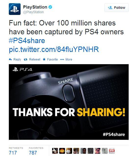 סוני טוויטר PS4 שיתוף