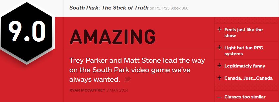 South Park The Stick of Truth ביקורות