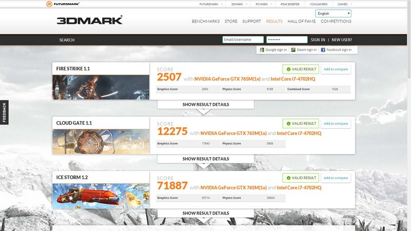 תוצאות הבדיקה ב3DMark 11