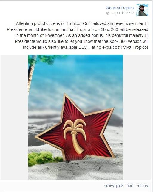 Tropico-5-Facebook-announcment