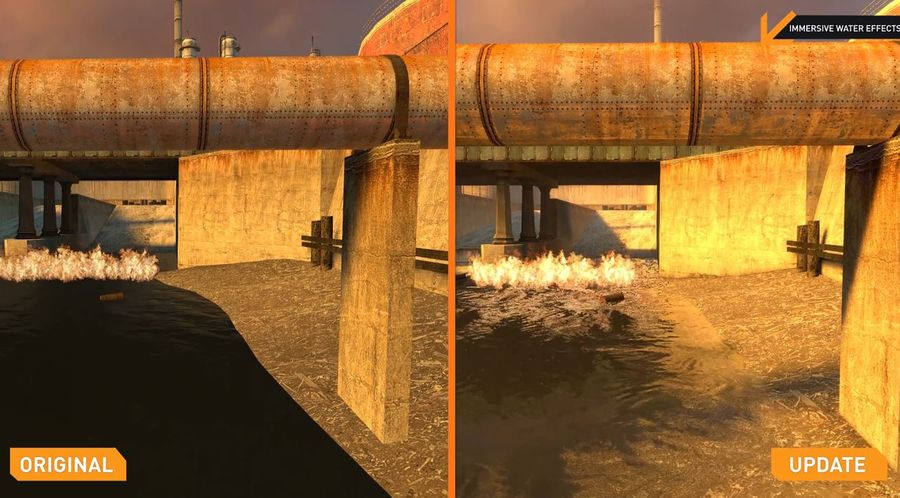 Half-Life 2 Update Comparison water