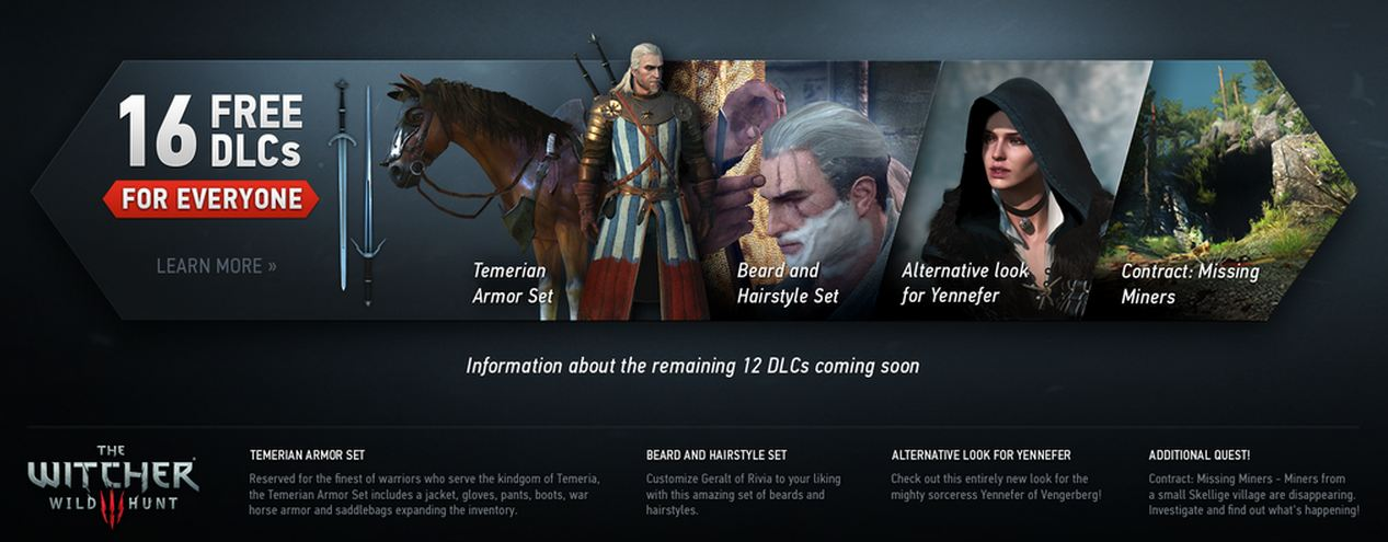 Witcher 3 Getting 16 Free DLC Packs