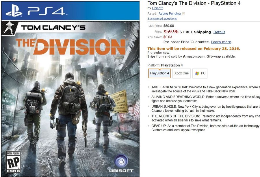 The Division amazon release date