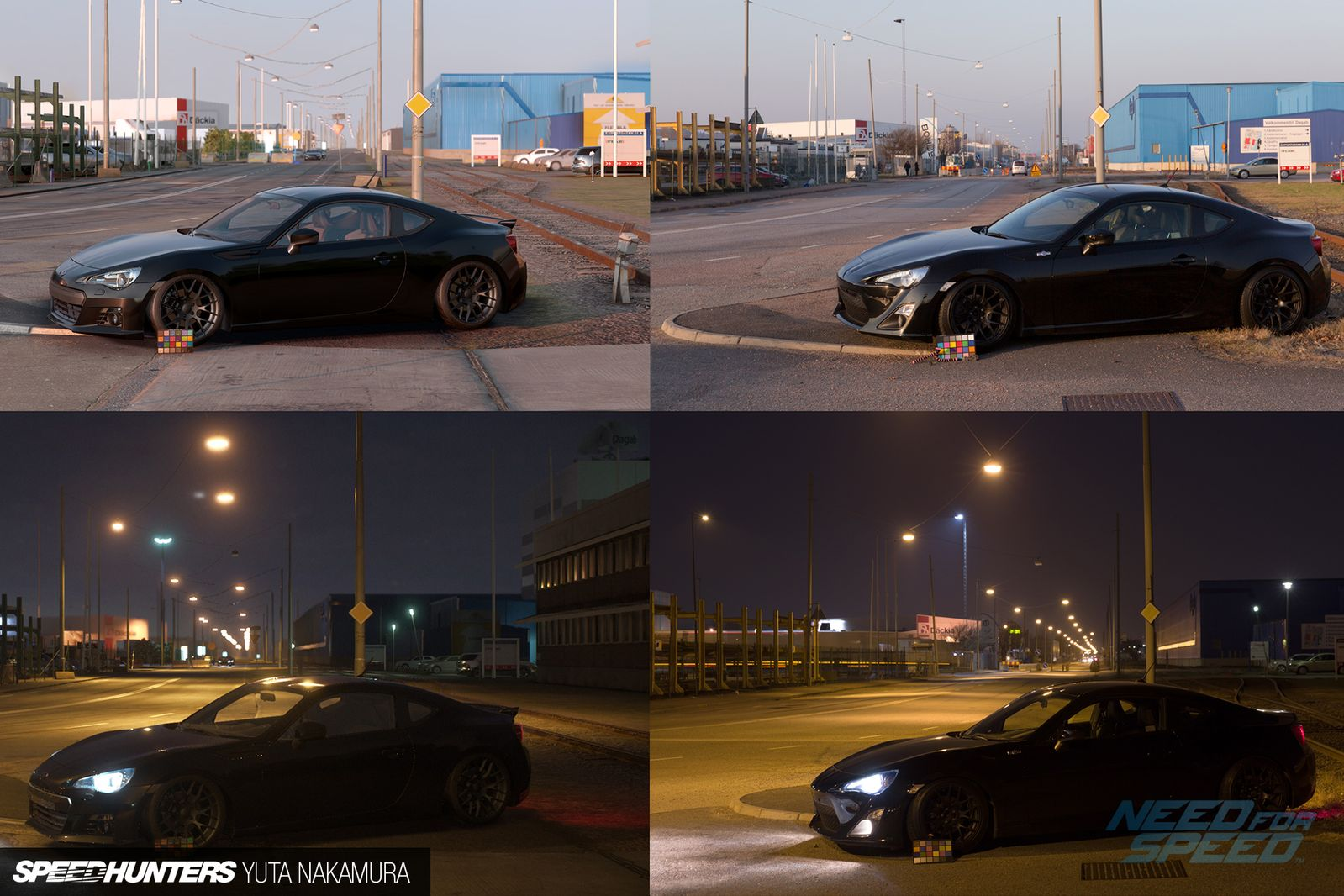 Need for Speed Left side game render engine, right side are real photos