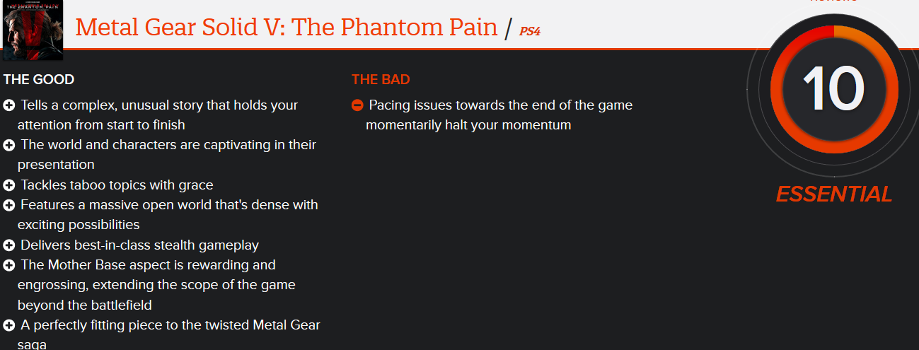 Metal Gear Solid V The Phantom Pain REVIEWS